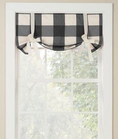 A bold and versatile oversized check is woven in soft and substantial pure cotton. (Country Curtains Weston Check Lined Tie-Up Valance) Tie Up Valance, Tie Up Curtains, Country Curtains, Window Curtains, Unique Curtains, Check Curtains, Bay Window, Farmhouse Valances, Kitchen Valances