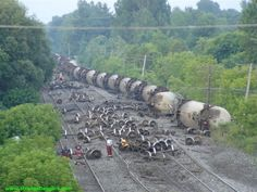 Train Wrecks with Cars | STRANGE TRAIN WRECK - TANK CARS ROLLED OVER!