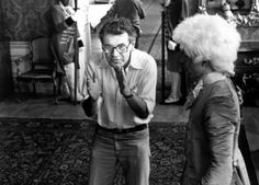 Milos Forman and Tom Hulce while filming AMADEUS (1984)