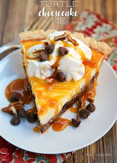 Turtle Cheesecake Pie - pecans, chocolate chips, caramel ice cream topping, cream cheese, sugar, eggs, sour cream baked in a frozen pie shell. CRAZY good! So simple to make. The hardest part is waiting on it to chill in the fridge before eating. It was pure torture! We inhaled this pie. Really simple and delicious! Recipe from legendary golfer Jack Nicklaus' family.