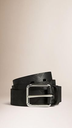 Check Embossed Leather Belt   Burberry