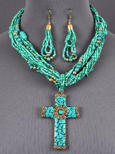 UnikLook Jewelry - Mosaic gold turquoise Necklace set, $12.25 (http://uniklook.com/mosaic-gold-turquoise-necklace-set/)