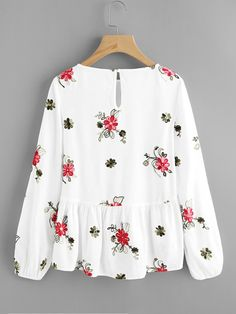 To find out about the Flower Embroidered Smock Top at SHEIN IN, part of our latestBlouses ready to shop online today! Blazer Fashion, Hijab Fashion, Fashion Outfits, Simple Outfits, Casual Outfits, Cute Outfits, Designer Kurtis, Blouse Styles, Blouse Designs