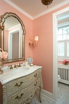 Shabby Chic, I love the wall color, the mirror, and the dresser/vanity