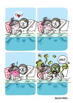 Everyday life comics by Agustina Guerrero Funny As Hell, Funny Love, Funny Cartoons, Funny Comics, Funny Images, Funny Pictures, Life Comics, Art Jokes, Couples Comics