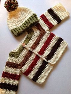 Items similar to Handmade crochet fall sweater set baby sweater set hat set on Etsy Crochet Baby Sweaters, Crochet Baby Cardigan, Crochet Baby Clothes, Baby Knitting, Knitted Baby, Crochet Fall, Crochet For Boys, Knit Crochet, Crochet Cable Stitch