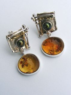 Original Handmade by Artist Designer Maker, Gregory Pyra Piro One of a Kind Original and Jewellery in Jewellery, Handcrafted by 1825 Unusual Jewelry, Amber Jewelry, Rose Gold Jewelry, Jewelry Art, Jewelry Design, Gold Jewellery, Amber Earrings, Gold Earrings, Style Ancien