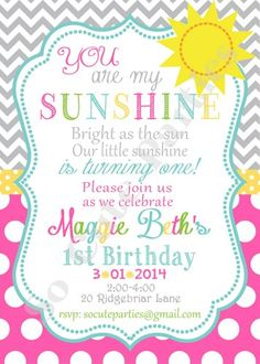 PRINTABLE You are My Sunshine Birthday Party Invitation PRINTABLE