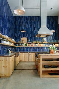 wooden units, tiled worktops