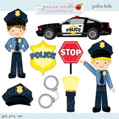Police Kids Cute Digital Clipart - Commercial Use OK - Police Clipart, Police Graphics, Handcuffs, Police Car