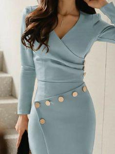 Ruched Button Design Irregular Work Dress - Outfits for Work Look Fashion, Womens Fashion, Fashion Tips, Fashion Design, Fashion 2017, Fashion Brands, Feminine Fashion, Japan Fashion, Cheap Fashion