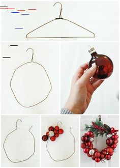 """I know what you're thinking: """"Oh great, another Christmas ornament wreath tutorial,"""" BUT my tutorial comes with a twist! I made my wreath one-handed. That's rig… xmas crafts How to Make a Christmas Ornament Wreath With a Wire Hanger Homemade Christmas Decorations, Christmas Wreaths To Make, Holiday Wreaths, Christmas Decorations For Bedroom, Chritmas Diy, Diy Christmas Decorations Easy, Advent Wreaths, Christmas Tablescapes, Christmas Centerpieces"""