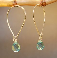 Details about Gemstone Earrings Gold Filled Long Ear Wires Aquamarine Crystal Amethyst - DIY-Reifen errings Sea Glass Jewelry, Wire Jewelry, Beaded Jewelry, Silver Jewelry, Silver Ring, Jewelry Candles, Jewelry Logo, Jewelry Armoire, Cheap Jewelry