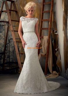 Robe de mariée sirène dentelle ceinture col bateau
