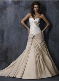 White and champagne wedding gown