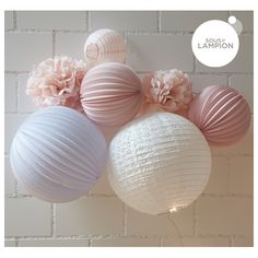 Pink shades paper lanterns kit  for girls bedroom or nursery