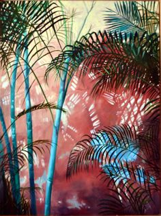"Palms and wall shadows. Inspiration for this oil painting on canvas 48"" x 36"" by Podi lawrence."
