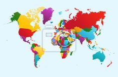Sticker weltkarte, bunt ländern illustration eps10 vektor-datei. - abenteuer • PIXERS.de