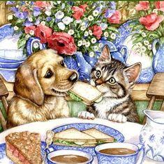 Belle image de chien et chat