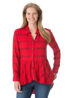 4249a8c10f620 Fluid flounce tunic by Allen B.® Plus Size Shirts