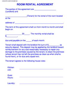 room rental agreement month to month Free Rental Forms To Print | Free and Printable Rental Agreement ...