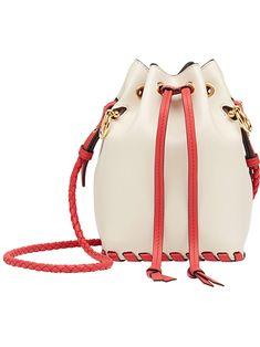 FENDI Mon Trésor Small Leather Bucket Bag, Camelia