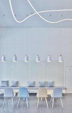 Home Decoration For Ganpati Referral: 5854377006 Pastel Interior, Modern Interior Design, Interior Architecture, Coffee Shop Design, Cafe Design, Design Design, Design Trends, Design Bar Restaurant, Modern Restaurant