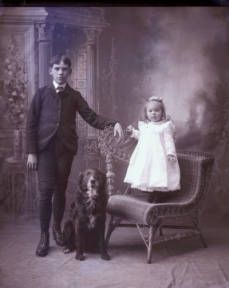 Two children with dog :: Historical Society of Warwick
