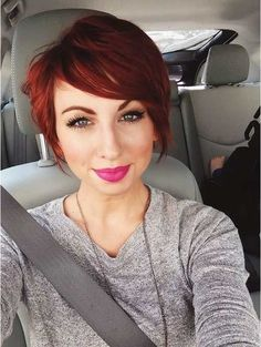 The pixie haircut is still on trend and getting one is the perfect way to stand out from the crowd. Long pixie hairstyles are a beautiful way to wear short. Pixie Haircut For Thick Hair, Longer Pixie Haircut, Short Red Hair, Short Hair Styles, Haircut Short, Long Pixie Cut Thick Hair, Pixie Cut For Round Faces, Red Pixie Cuts, Pixie Bob Haircut