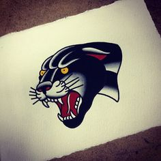 tattoo old school / traditional nautic ink - panther. #tattooflash