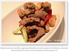 Bœuf sauté aux Morilles, asperges blanches et maïs au poivre de Sichuan par le Chef Mok Kit Keung (2*) du Kowloon Shangri-La Hotel, Hong Kong, invité du SHANG PALACE (1*), restaurant du Shangri-La Hotel, Paris, du 19 au 30 mars 2015.