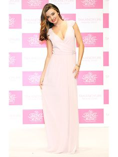 Miranda Kerr  People Magazine's Best Dressed in her romantic flowing chiffon Joanna August dress. | $275  Get this look: http://www.joannaaugust.com/ceremony/newbury-long