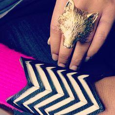 Chevron cuff and Fox ring #melvin #fallfashion #madeinusa #cltlocal #jewelry #accessories #blackwhite #geometric #fox #foxylady #chevron #cuffs #rings - @melvinjewelry- #webstagram