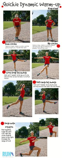 5 Minute Dynamic Stretching Warm Up to Improve Runs - RunToTheFinish Quick Dynamic Warm Up Routine for Runners ~ Runner training for life Running Workouts, Running Tips, Running Training, Running Drills, Running Plan, Sports Training, Sport Fitness, Health Fitness, Fitness Life