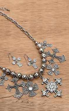 Wear N.E. Wear® Silver Antique Cross and Beads Necklace Fashion Jewelry Set | Cavender's