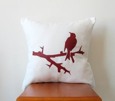 Red Thorn Bird Pillow Cover Hand Printed by AnyarwotDesigns, $19.99