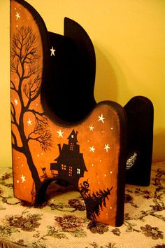 hand painted vintage style HALLOWEEN DOLL STOOL CHAIR by RYTA