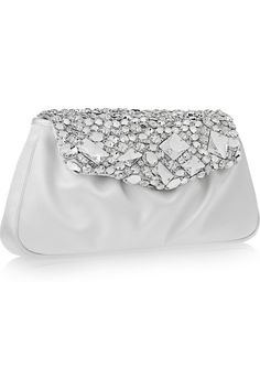 White satin clutch bag with silver Swarovski crystal accents from Yves Saint Laurent.