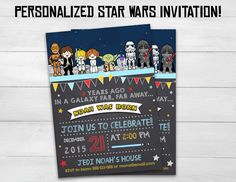 Star Wars chalkboard birthday invitation for your party! Personalized invitation. 4x6 or 5x7 inches sizes.  You can check the Star Wars party