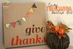 I'm still on a mission to stop neglecting fall and creating some fun and easy decorations. I whipped up this easy and inexpensive Thanksgiving burlap canvas art last night in no time flat. Burlap Canvas Art, Fall Canvas, Canvas Crafts, Diy Canvas, Canvas Ideas, Crafts To Do, Fall Crafts, Holiday Crafts, Holiday Fun