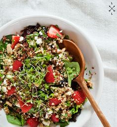 This strawberry feta quinoa salad by loveandlemons is so good! I made it this weekend and it is my new favorite meal.