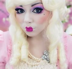 Check out this tutorial for a Marie Antoinette–inspired doll look you can probably pull off with makeup you already have on hand. #halloween #costume