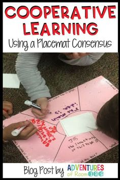 Placemat Consensus is a great way to get students working together in small groups! An ideal group activity to ENGAGE students in all subject areas. Cooperative Learning Strategies, Teaching Strategies, Teaching Tools, Teacher Resources, Differentiation Strategies, Cooperative Games, Student Teaching, Teaching Ideas, Classroom Activities