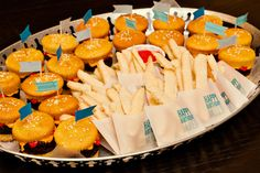 Hamburger Cupcakes and Cookie French Fries! Too cute!