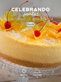 No hay mejor manera de celebrar un cumpleaños que con este Cheesecake de piña colada.  #recetas #receta #quesophiladelphia #philadelphia #crema #quesocrema #queso #comida #cocinar #cocinamexicana #recetasfáciles #cheesecake #piña #piñacolada #cereza #pastel #pasteles #cumpleaños #celebrar #fiesta