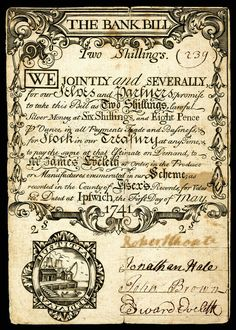 http://www.atlasobscura.com/articles/the-hidden-messages-of-colonial-handwriting Colonial currency, featuring a mix of old and new-style hands.