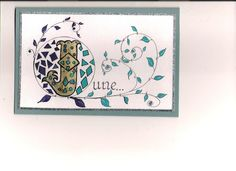 card free hand design. using gold and sukura pens, with calligraphy
