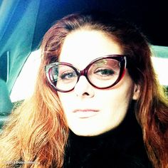Debra Messing showed off her new red-frame glasses. Source: Debra Messing on WhoSay