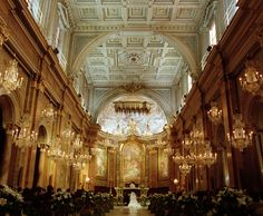 Lovely church with chandeliers really elegant and romantic...