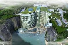 Developers in China are building a five-star luxury hotel in an abandoned quarry in the country's Sheshan national resort. The hotel will have 380 rooms and its roof will only extend 15 metres above the cave opening. Hotel Subaquático, Cave Hotel, Dubai Hotel, Burj Al Arab, Underground Hotel, Glass Waterfall, U Bahn, Bungee Jumping, Five Star Hotel